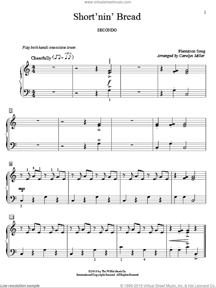 Short'nin' Bread sheet music for piano four hands  and Carolyn Miller, intermediate skill level