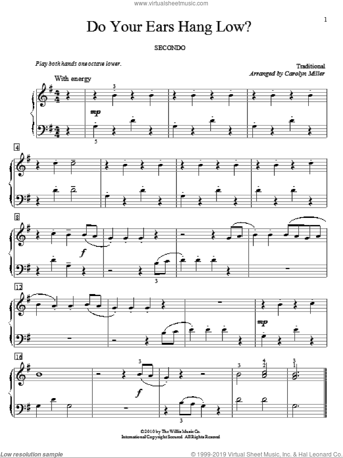 Do Your Ears Hang Low? sheet music for piano four hands  and Carolyn Miller, intermediate. Score Image Preview.