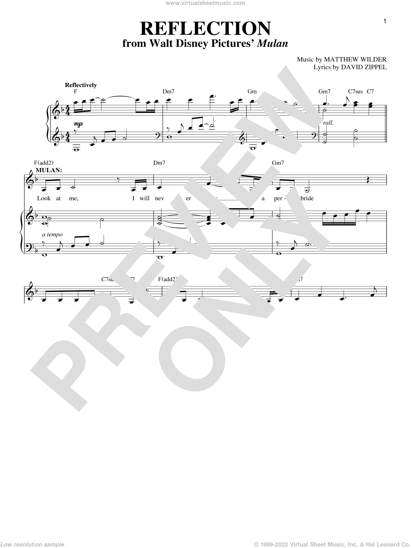 Reflection sheet music for voice, piano or guitar by David Zippel, Mulan (Movie) and Matthew Wilder, intermediate skill level
