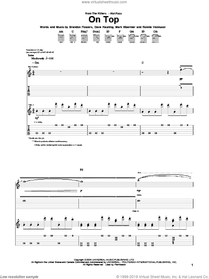 On Top sheet music for guitar (tablature) by The Killers and Brandon Flowers, intermediate guitar (tablature). Score Image Preview.
