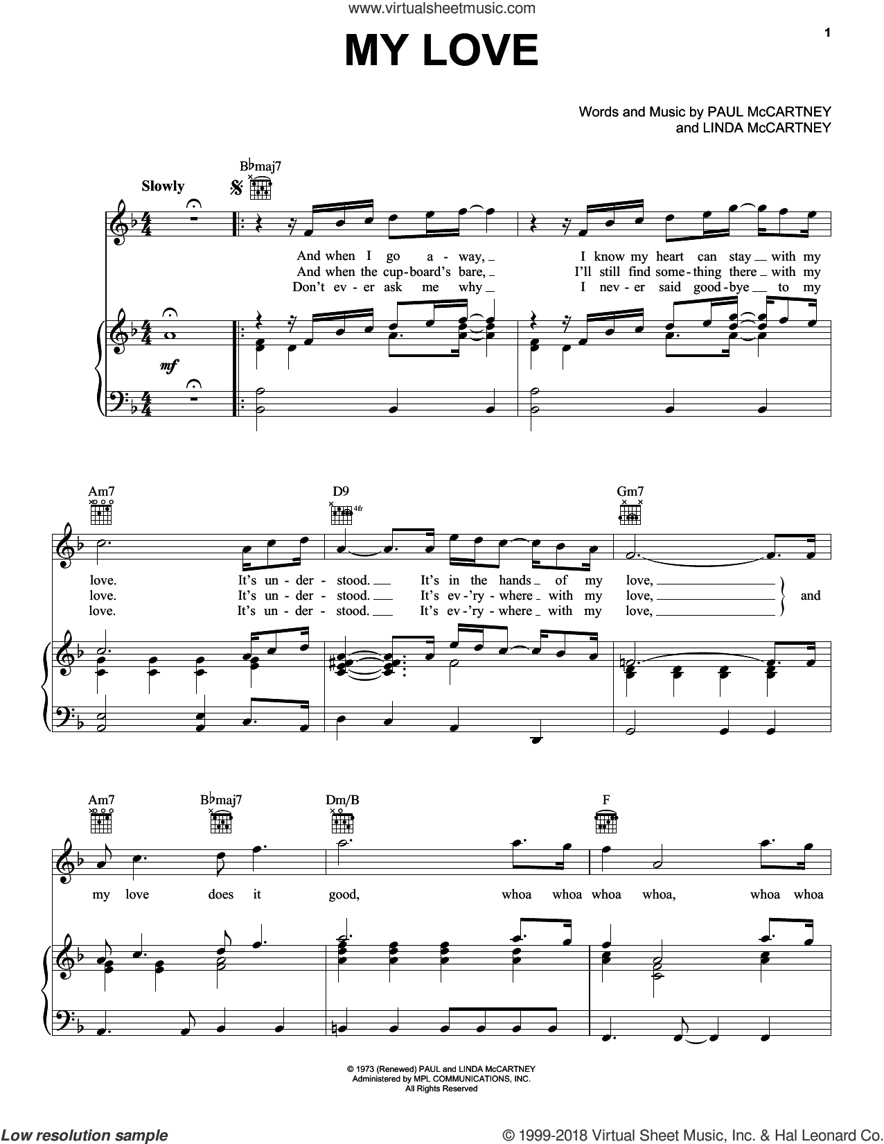 My Love sheet music for voice, piano or guitar by Paul McCartney, Paul McCartney and Wings and Linda McCartney, intermediate skill level