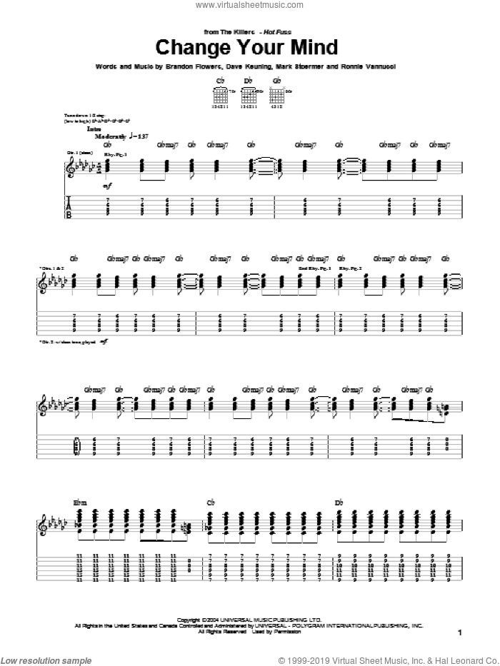 Change Your Mind sheet music for guitar (tablature) by Ronnie Vannucci, The Killers, Brandon Flowers, Dave Keuning and Mark Stoermer. Score Image Preview.