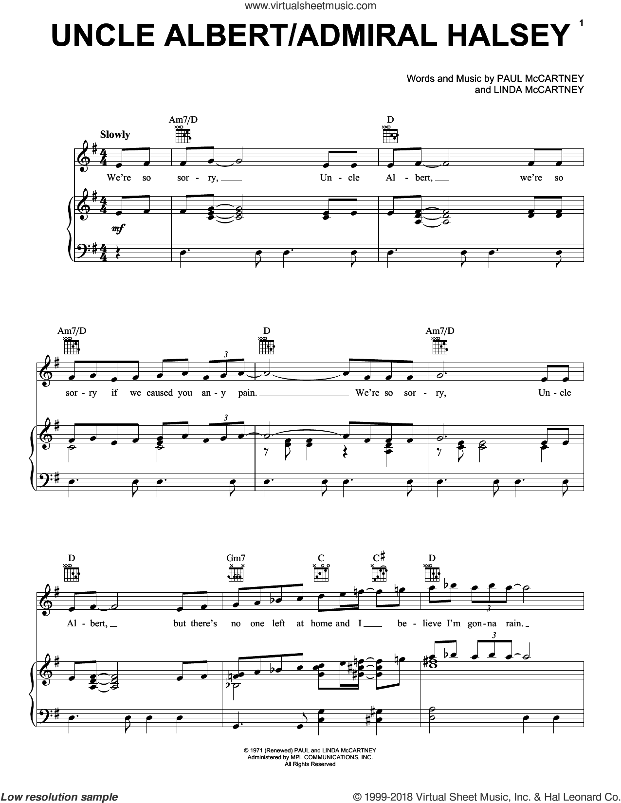 Uncle Albert / Admiral Halsey sheet music for voice, piano or guitar by Paul McCartney, Paul McCartney and Wings and Linda McCartney, intermediate skill level