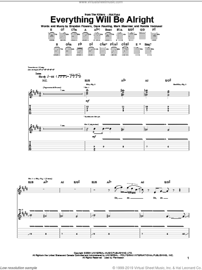 Everything Will Be Alright sheet music for guitar (tablature) by Ronnie Vannucci, The Killers, Brandon Flowers, Dave Keuning and Mark Stoermer. Score Image Preview.