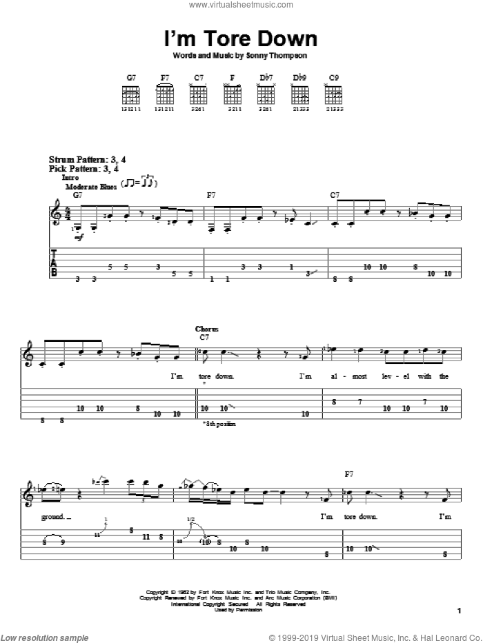 I'm Tore Down sheet music for guitar solo (easy tablature) by Eric Clapton, Freddie King and Sonny Thompson, easy guitar (easy tablature)