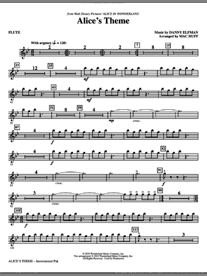 Alice's Theme (complete set of parts) sheet music for orchestra/band (chamber ensemble) by Danny Elfman and Mac Huff, intermediate. Score Image Preview.