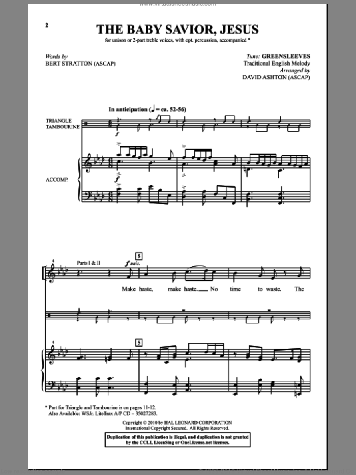 The Baby Savior, Jesus sheet music for choir (Unison) by Bert Stratton and David Ashton, intermediate skill level