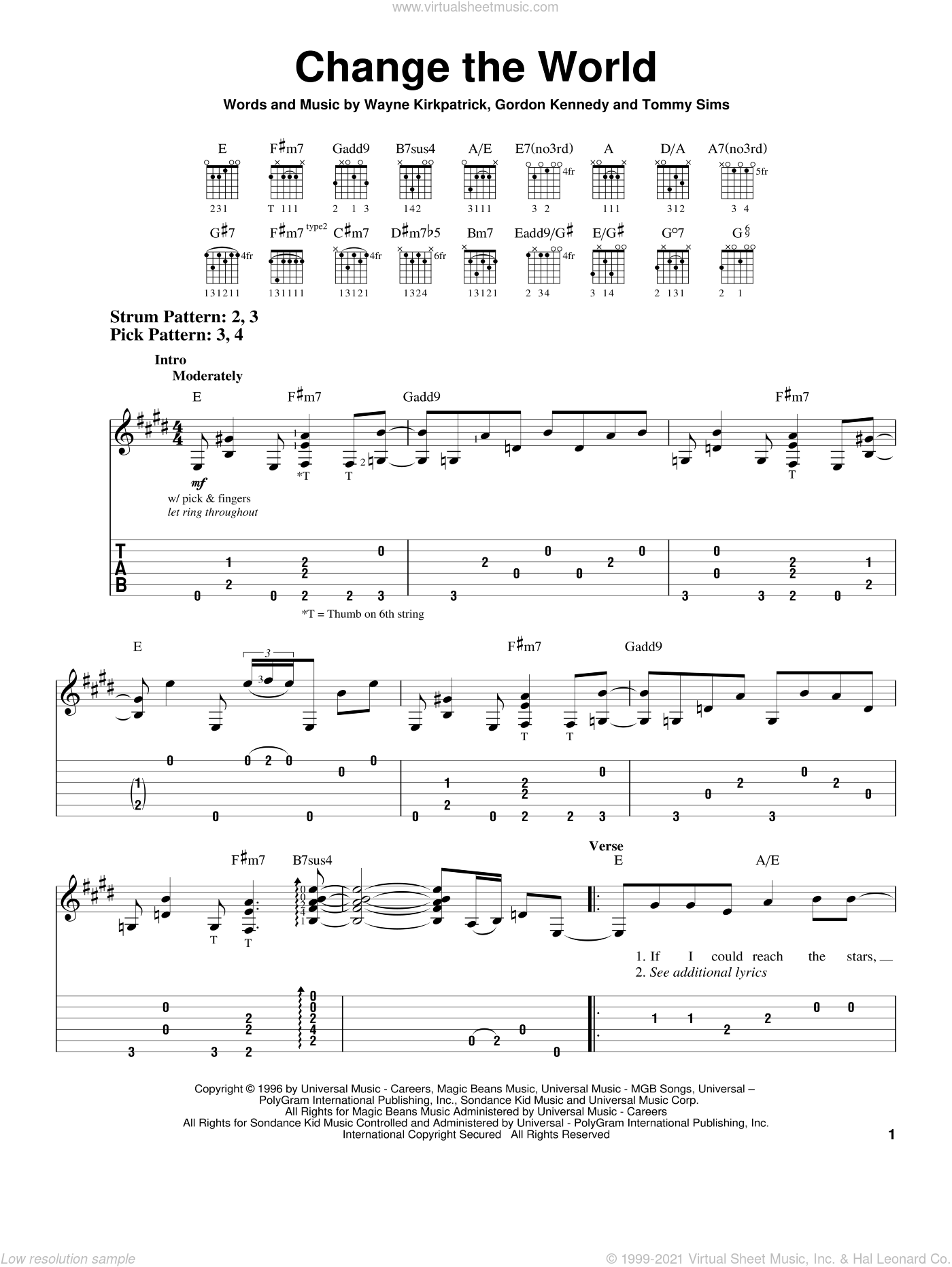 Change The World sheet music for guitar solo (easy tablature) by Eric Clapton, Gordon Kennedy, Tommy Sims and Wayne Kirkpatrick, easy guitar (easy tablature)