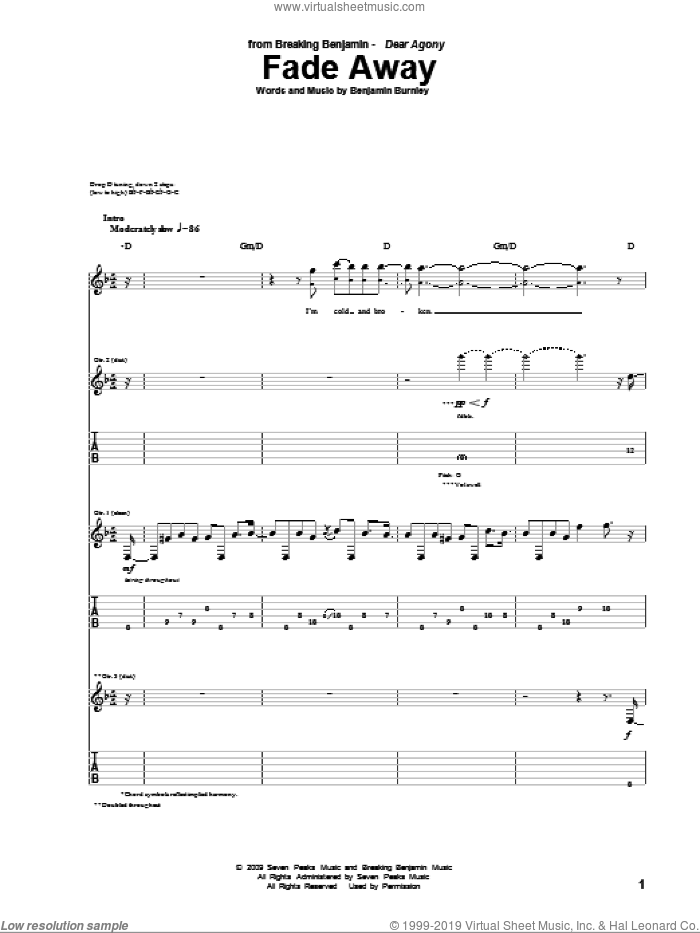 Fade Away sheet music for guitar (tablature) by Benjamin Burnley. Score Image Preview.