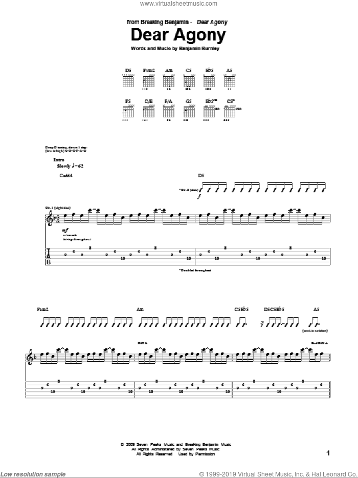 Dear Agony sheet music for guitar (tablature) by Breaking Benjamin. Score Image Preview.