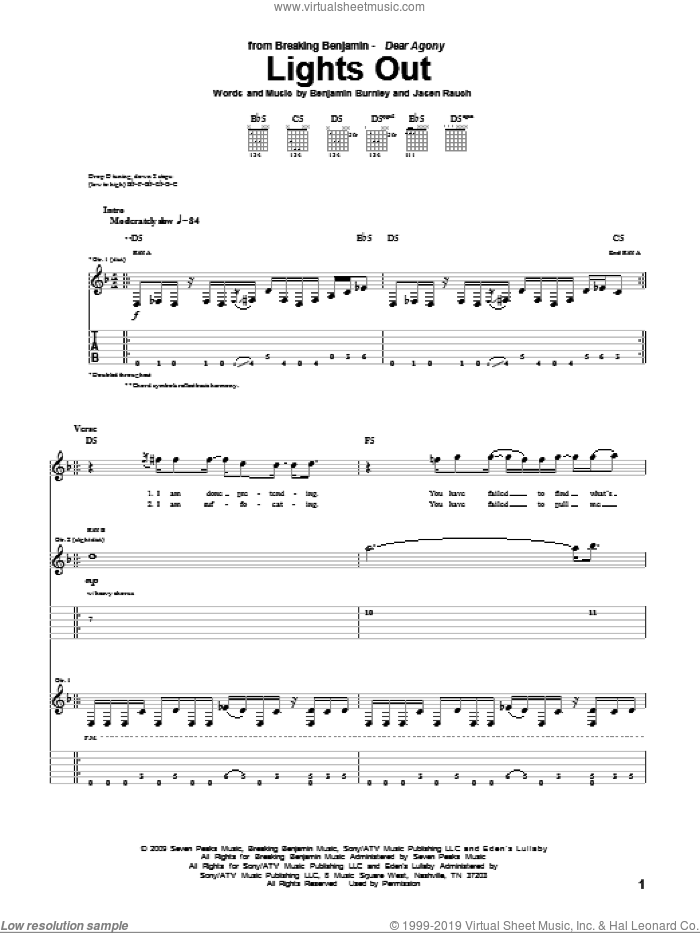 Lights Out sheet music for guitar (tablature) by Jasen Rauch and Benjamin Burnley. Score Image Preview.