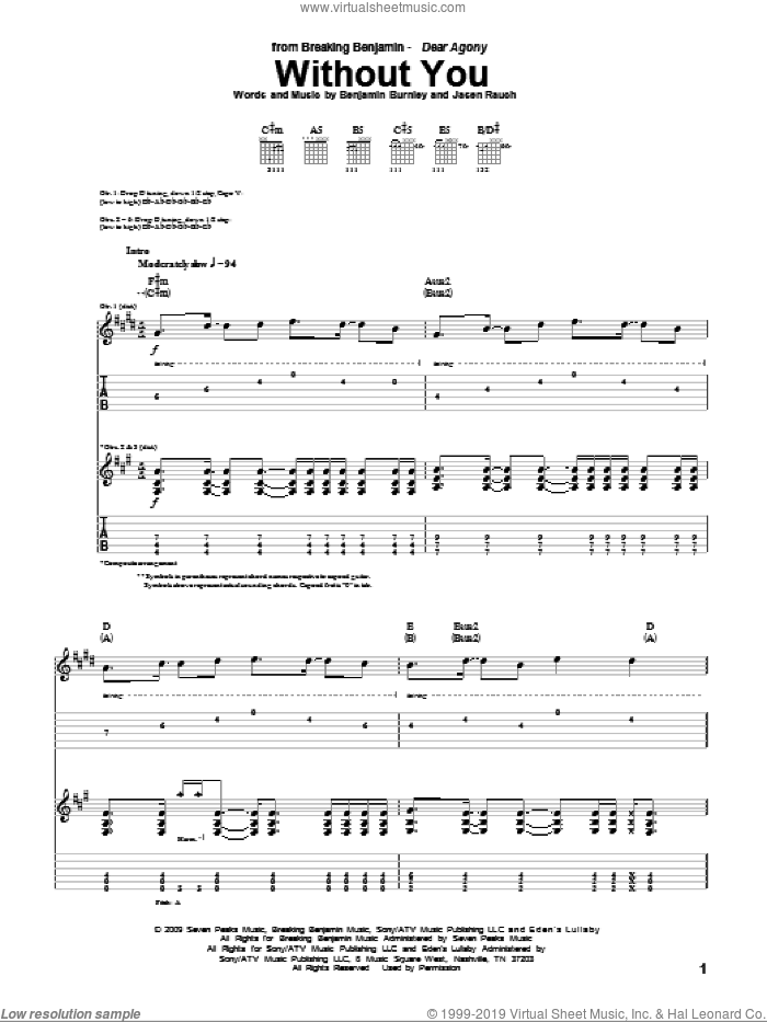 Without You sheet music for guitar (tablature) by Breaking Benjamin, Benjamin Burnley and Jasen Rauch, intermediate skill level