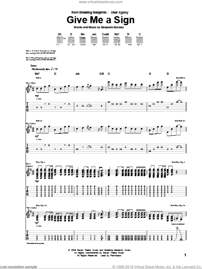 Give Me A Sign sheet music for guitar (tablature) by Benjamin Burnley. Score Image Preview.