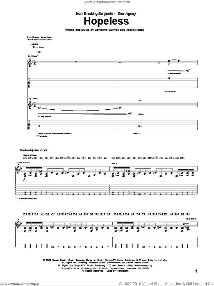 Hopeless sheet music for guitar (tablature) by Breaking Benjamin. Score Image Preview.