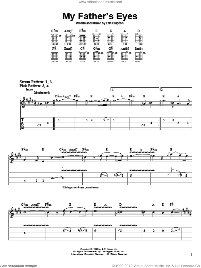 My Father's Eyes sheet music for guitar solo (easy tablature) by Eric Clapton, easy guitar (easy tablature)