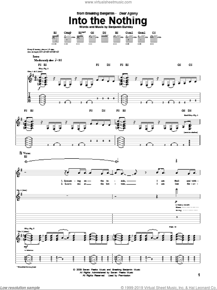 Into The Nothing sheet music for guitar (tablature) by Breaking Benjamin and Benjamin Burnley, intermediate skill level