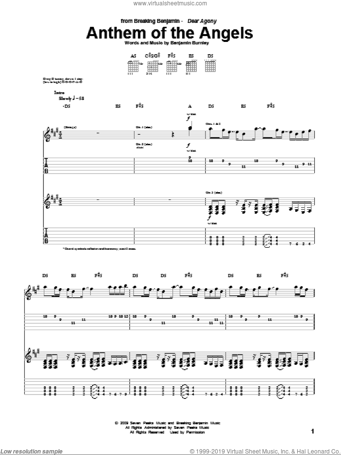 Anthem Of The Angels sheet music for guitar (tablature) by Benjamin Burnley. Score Image Preview.