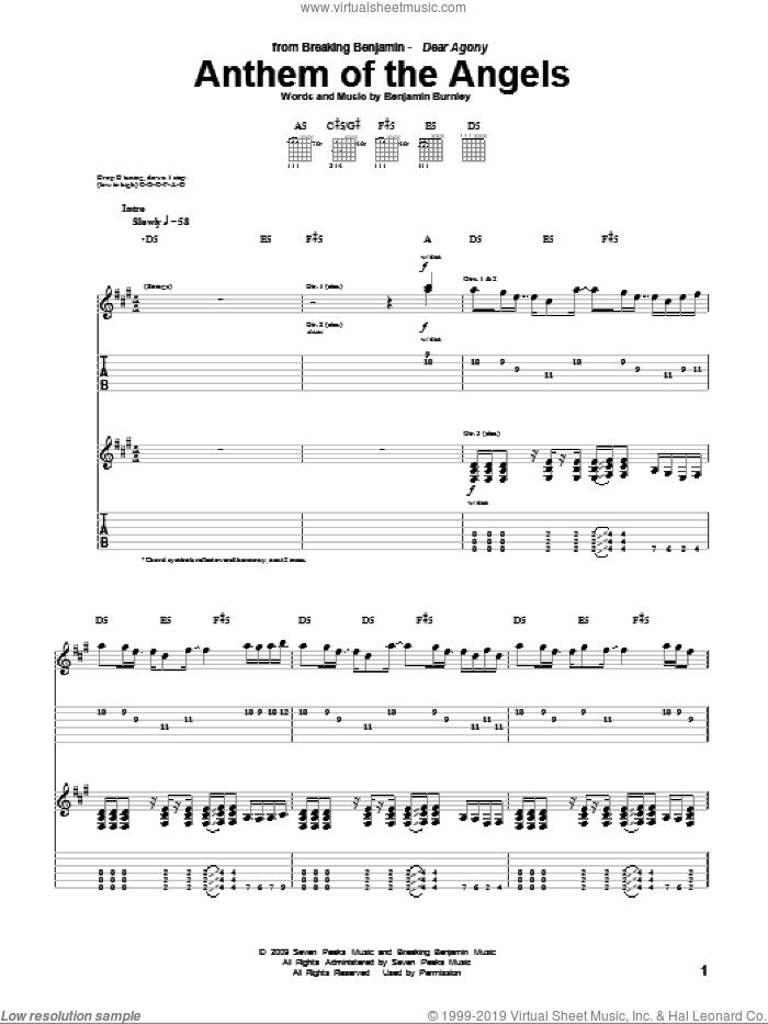 Anthem Of The Angels sheet music for guitar (tablature) by Breaking Benjamin and Benjamin Burnley, intermediate skill level