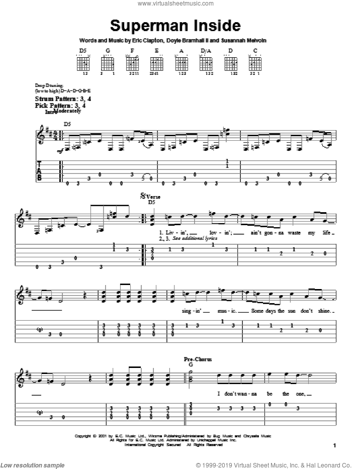 Superman Inside sheet music for guitar solo (easy tablature) by Eric Clapton, Doyle Bramhall and Susannah Melvoin, easy guitar (easy tablature). Score Image Preview.