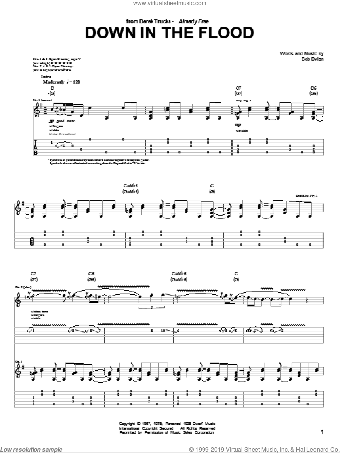 Down In The Flood sheet music for guitar (tablature) by The Derek Trucks Band and Bob Dylan. Score Image Preview.
