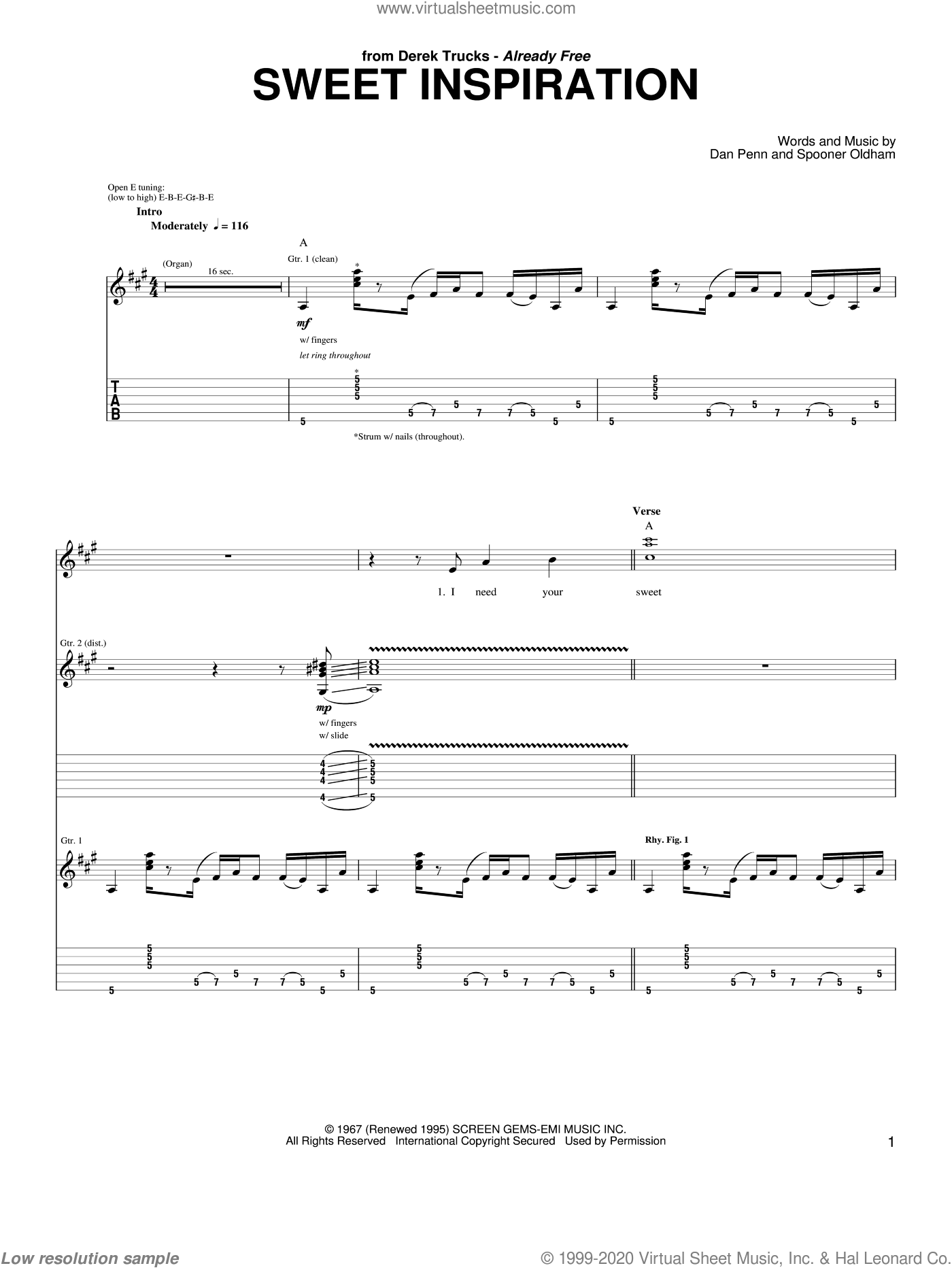 Sweet Inspiration sheet music for guitar (tablature) by Spooner Oldham, Rita Coolidge, The Derek Trucks Band and Dan Penn