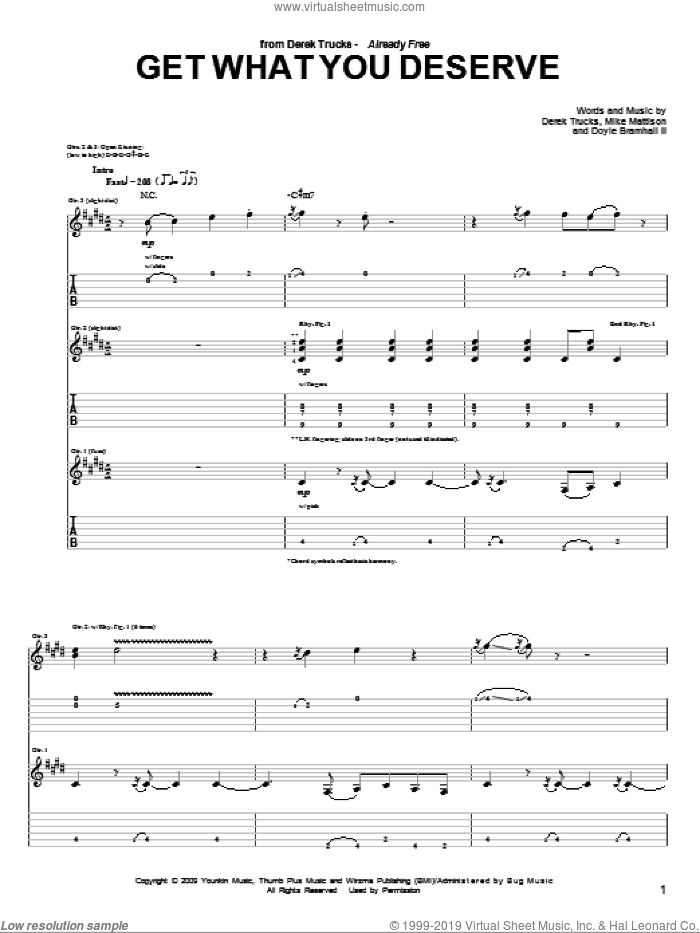 Get What You Deserve sheet music for guitar (tablature) by The Derek Trucks Band, Derek Trucks and Doyle Bramhall. Score Image Preview.