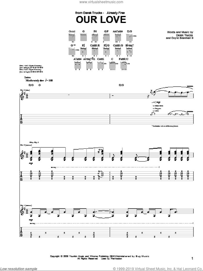Our Love sheet music for guitar (tablature) by The Derek Trucks Band, Derek Trucks and Doyle Bramhall, intermediate. Score Image Preview.