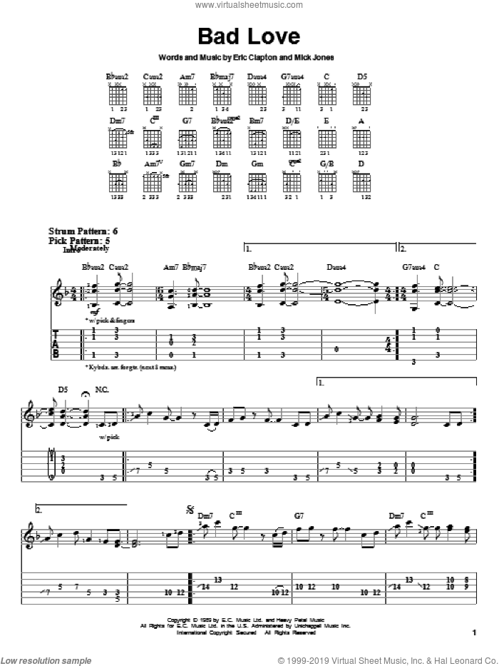 Bad Love sheet music for guitar solo (easy tablature) by Mick Jones and Eric Clapton. Score Image Preview.