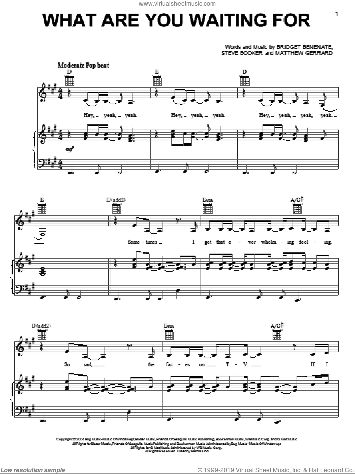 What Are You Waiting For sheet music for voice, piano or guitar by Steve Booker