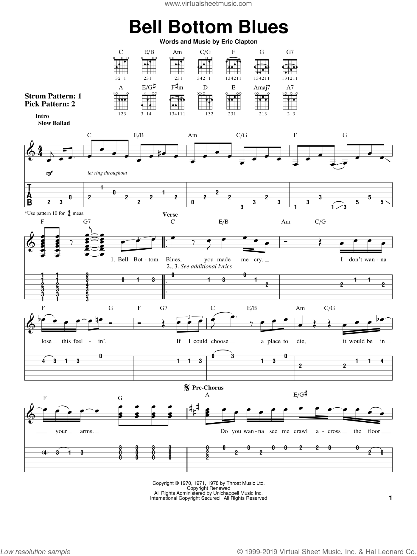 Bell Bottom Blues sheet music for guitar solo (easy tablature) by Derek And The Dominos and Eric Clapton, easy guitar (easy tablature)