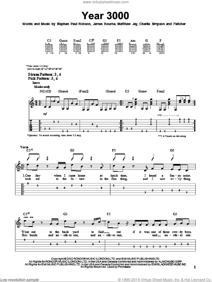 Year 3000 sheet music for guitar solo (easy tablature) by Jonas Brothers and Busted, easy guitar (easy tablature). Score Image Preview.