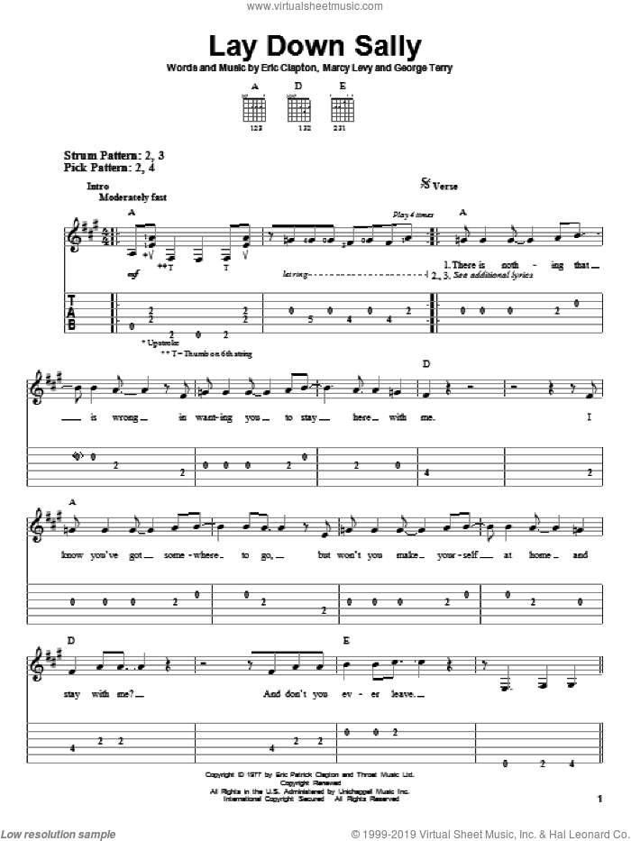 Lay Down Sally sheet music for guitar solo (easy tablature) by Eric Clapton, George Terry and Marcy Levy, easy guitar (easy tablature)