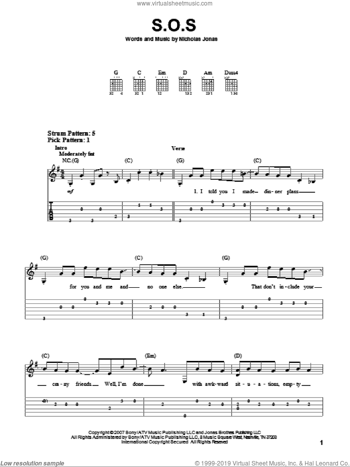 S.O.S. sheet music for guitar solo (easy tablature) by Nicholas Jonas. Score Image Preview.