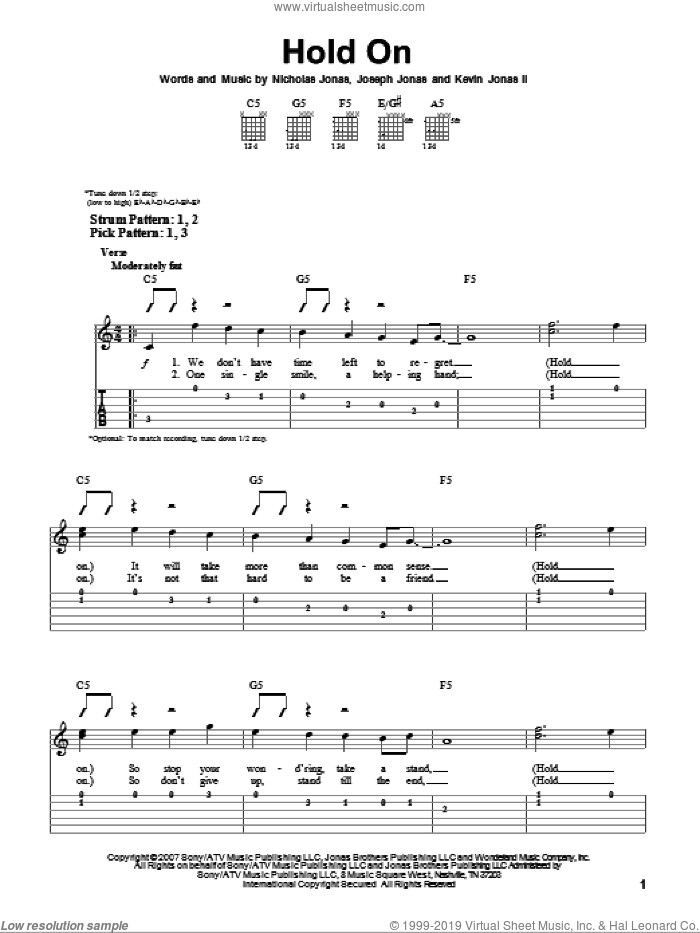 Hold On sheet music for guitar solo (easy tablature) by Jonas Brothers and Nicholas Jonas. Score Image Preview.