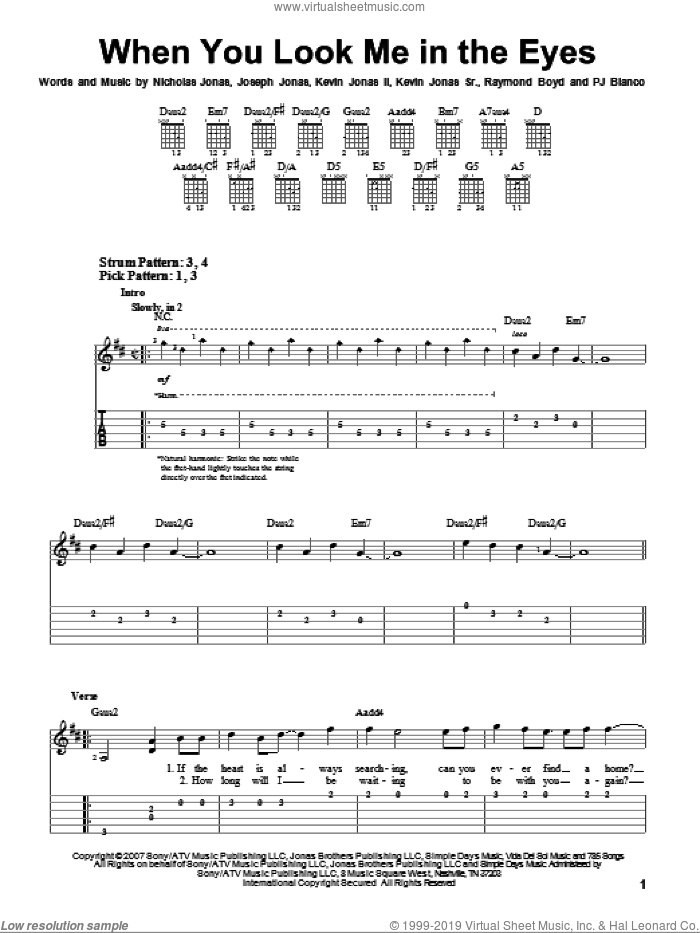 When You Look Me In The Eyes sheet music for guitar solo (easy tablature) by Raymond Boyd, Joseph Jonas, Kevin Jonas Sr., Nicholas Jonas and PJ Bianco. Score Image Preview.