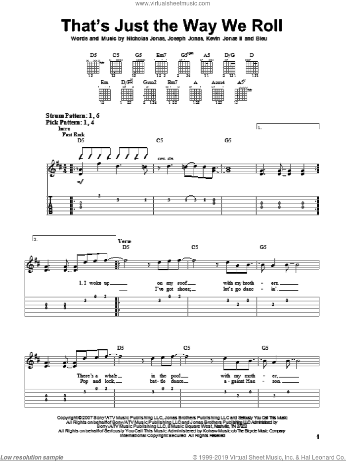 That's Just The Way We Roll sheet music for guitar solo (easy tablature) by Jonas Brothers, Bleu, Joseph Jonas, Kevin Jonas II and Nicholas Jonas, easy guitar (easy tablature). Score Image Preview.