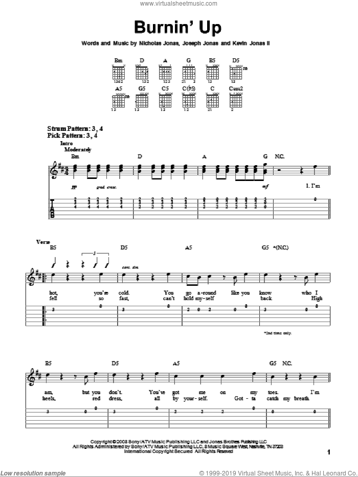 Burnin' Up sheet music for guitar solo (easy tablature) by Jonas Brothers and Nicholas Jonas. Score Image Preview.
