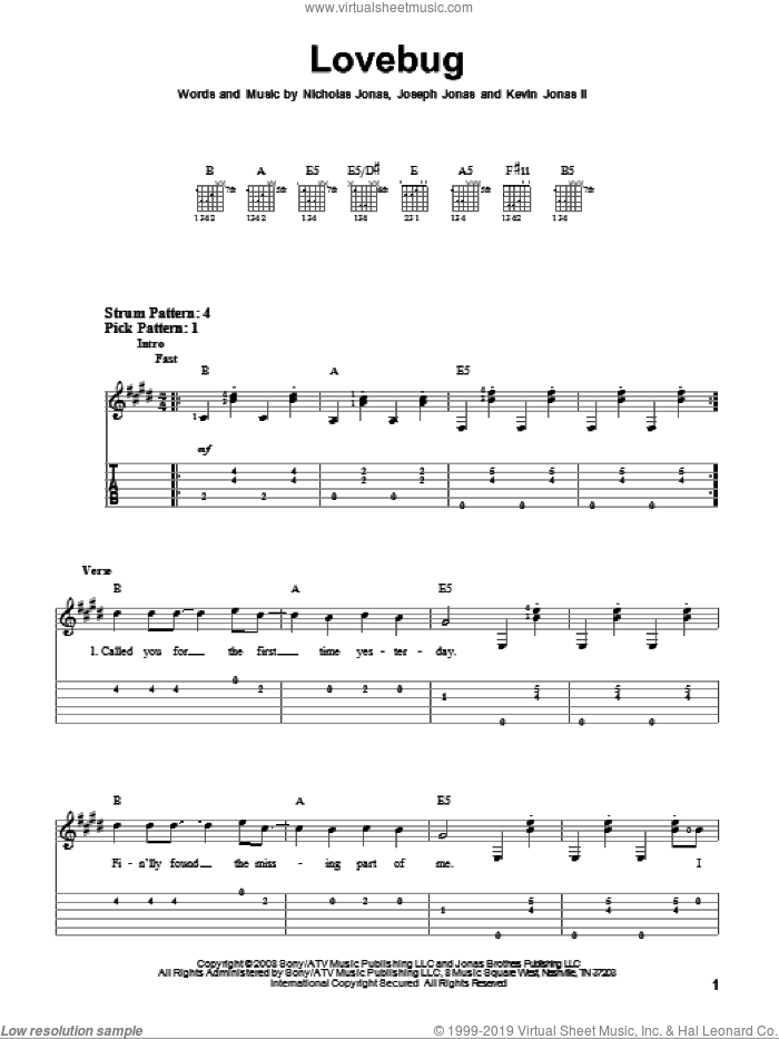 Lovebug sheet music for guitar solo (easy tablature) by Nicholas Jonas and Joseph Jonas. Score Image Preview.