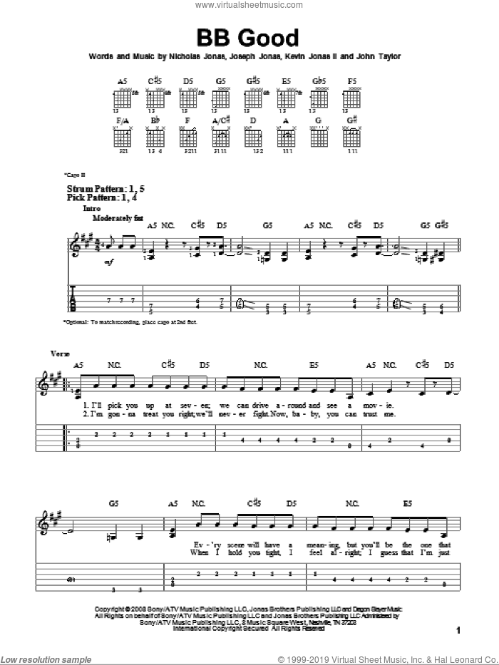 BB Good sheet music for guitar solo (easy tablature) by Nicholas Jonas, John Taylor and Joseph Jonas. Score Image Preview.