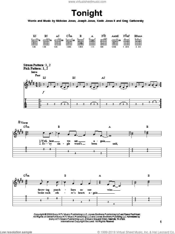 Tonight sheet music for guitar solo (easy tablature) by Jonas Brothers, Greg Garbowsky, Joseph Jonas, Kevin Jonas II and Nicholas Jonas, easy guitar (easy tablature). Score Image Preview.