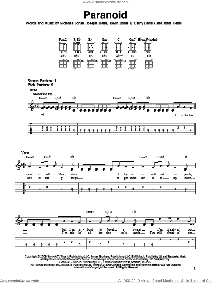 Paranoid sheet music for guitar solo (easy tablature) by Jonas Brothers, Cathy Dennis and Nicholas Jonas, easy guitar (easy tablature). Score Image Preview.