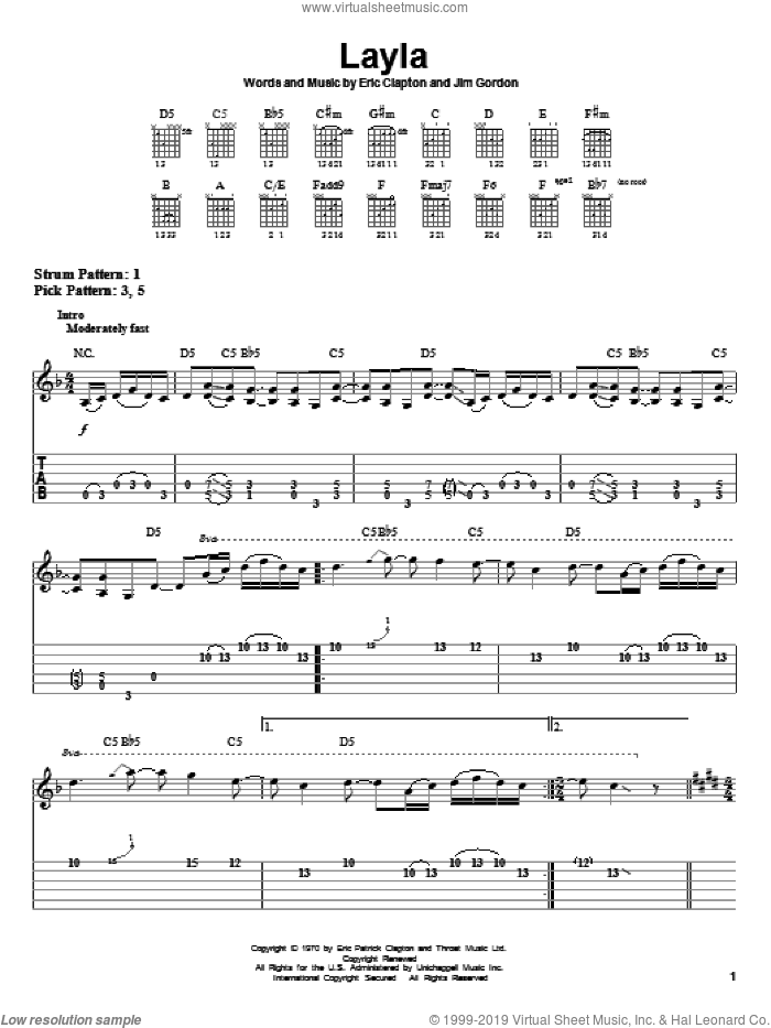 Layla sheet music for guitar solo (easy tablature) by Eric Clapton, Derek And The Dominos and Jim Gordon, easy guitar (easy tablature)
