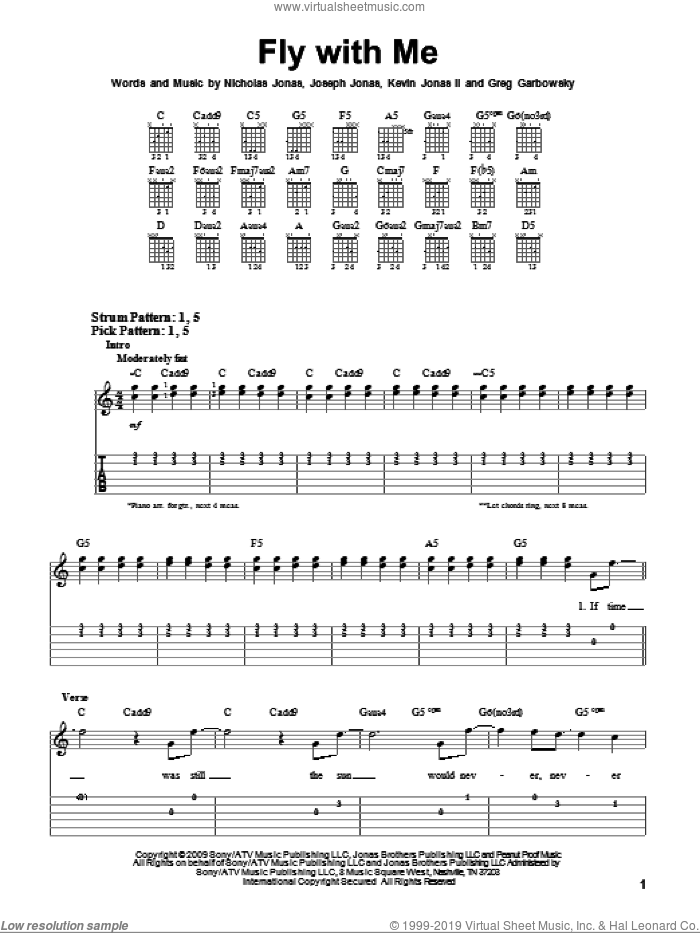Fly With Me sheet music for guitar solo (easy tablature) by Nicholas Jonas