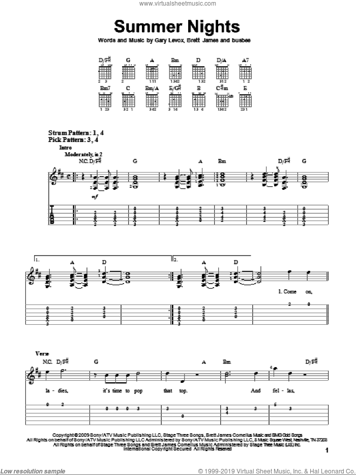Summer Nights sheet music for guitar solo (easy tablature) by Rascal Flatts, Brett James, Gary Levox and Michael Busbee, easy guitar (easy tablature)