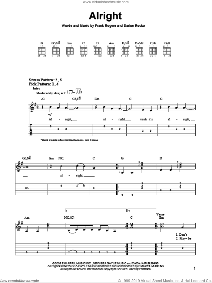 Alright sheet music for guitar solo (easy tablature) by Darius Rucker and Frank Rogers, easy guitar (easy tablature)