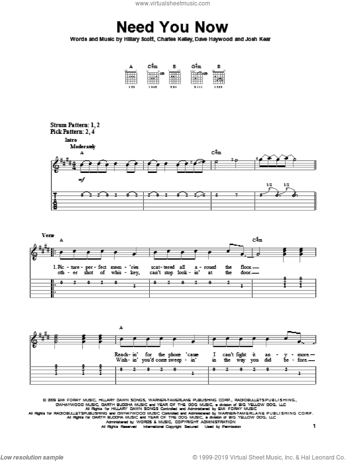 Need You Now sheet music for guitar solo (easy tablature) by Lady Antebellum, Charles Kelley, Dave Haywood, Hillary Scott and Josh Kear. Score Image Preview.