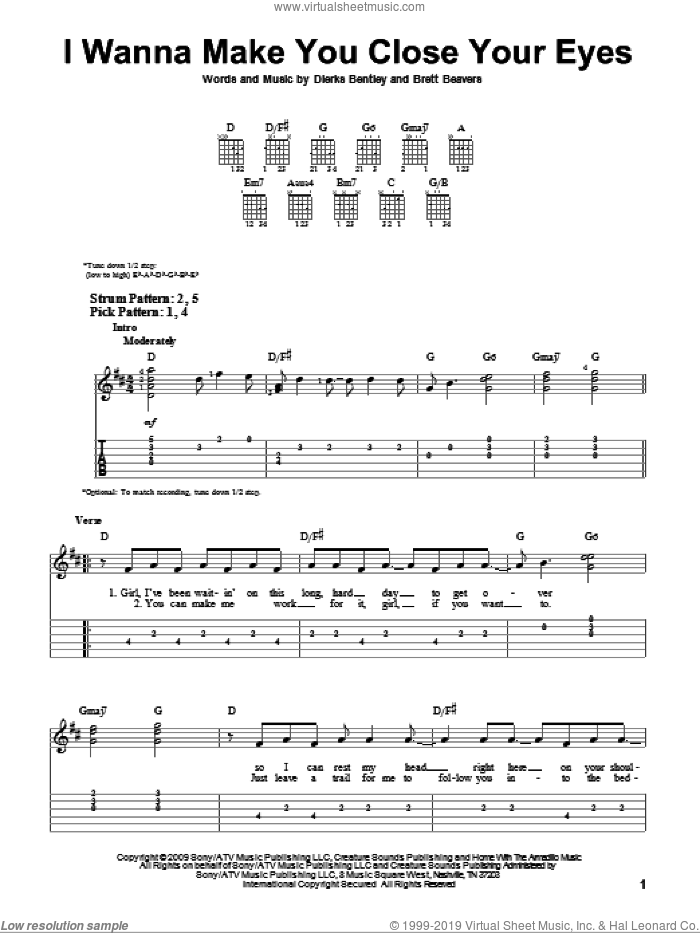 I Wanna Make You Close Your Eyes sheet music for guitar solo (easy tablature) by Dierks Bentley and Brett Beavers, easy guitar (easy tablature)