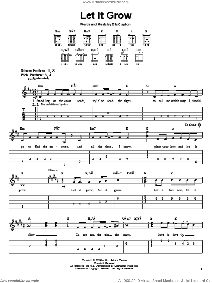 Let It Grow sheet music for guitar solo (easy tablature) by Eric Clapton, easy guitar (easy tablature). Score Image Preview.