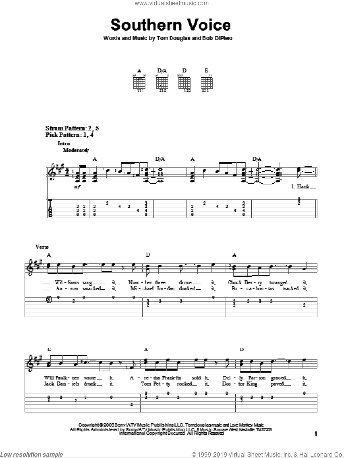 Southern Voice sheet music for guitar solo (easy tablature) by Tim McGraw, Bob DiPiero and Tom Douglas