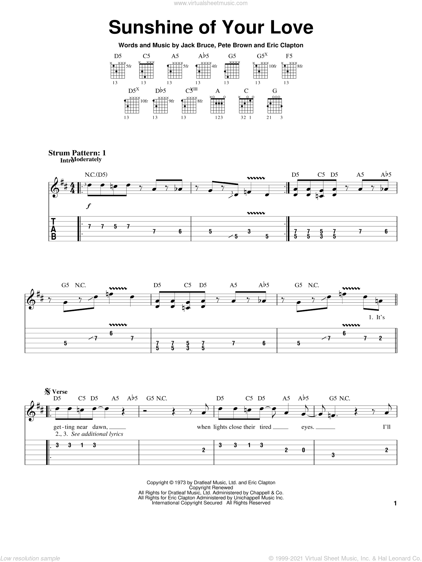 Sunshine Of Your Love sheet music for guitar solo (easy tablature) by Cream, Eric Clapton, Jack Bruce and Pete Brown, easy guitar (easy tablature)